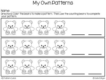 Counting Bear Pattern Cards {AB Patterns}