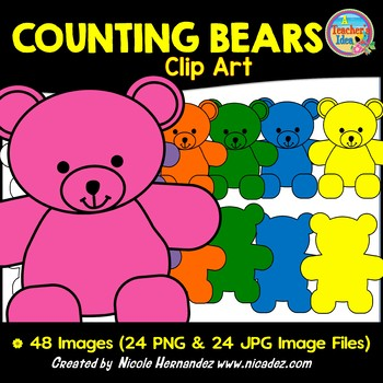 Counting Bears Clip Art for Teachers