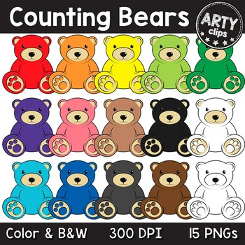 Counting Bears Color Clipart Math {Arty Clips}