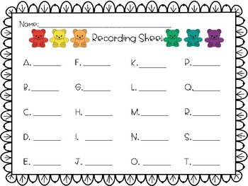 Counting Bears Write the Room 1-20