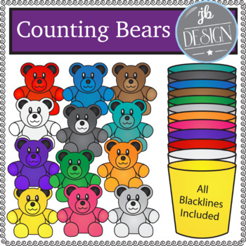 Counting Bears and Cups (JB Design Clip Art for Personal or Commercial Use)