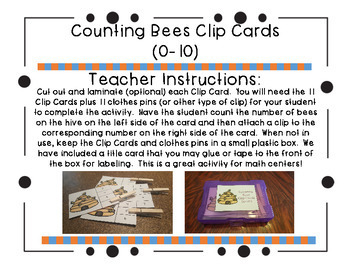 Counting Bees Clip Cards (0-10)