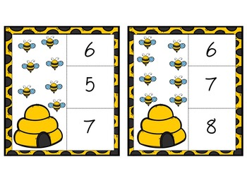 Counting Bees to 20 Clip Cards