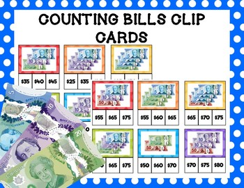 Counting Bills Clip Cards