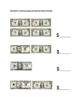 Counting Bills Money Worksheet