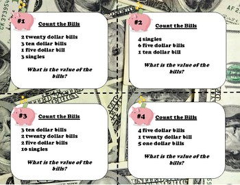 Counting Bills/Paper Money-- Task Cards or Scoot!