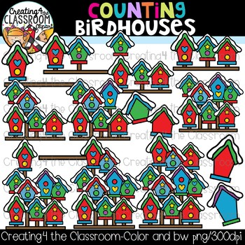 Counting Birdhouses Clipart {Winter Clipart}