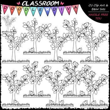 (0-10) Counting Birds Clip Art - Counting & Math Clip Art & B&W Set