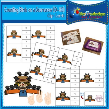 Counting Birds on a Scarecrow Clip Cards (0-10)