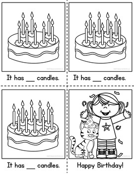 Counting Birthday Candles Clip Cards and Reader 1-10