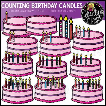Counting Birthday Candles Clipart Set {Educlips Clipart}