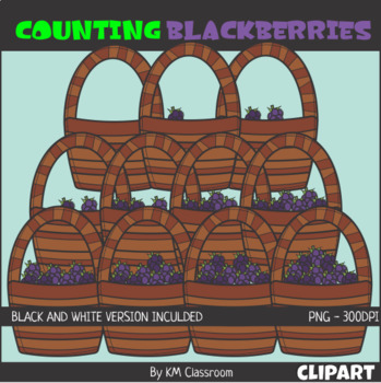 Counting Blackberries Basket ClipArt
