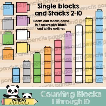 Counting Blocks Clip Art: 1 through 10