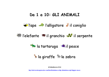 Animals Counting Book in Australian Curriculum F to Year 2 in Italian NEW PRICE