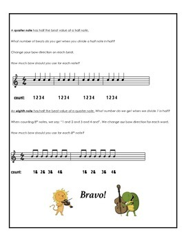 Use the Bow for Half, Quarter and 8th Notes! Bow Distribution Orchestra Handout