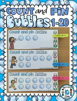 Counting Bubbles Math Center Activity- Count & pin (blowing bubbles)- 1-20