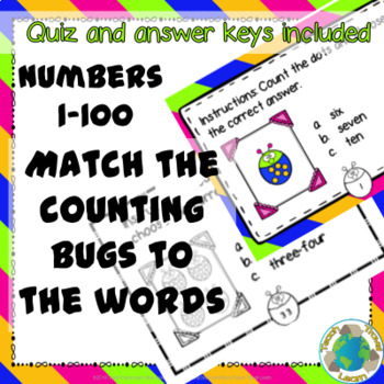 Counting Bugs Word Matching Task Cards