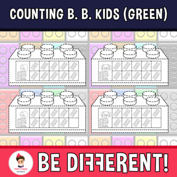 Counting Building Bricks Kids Clipart (Green)