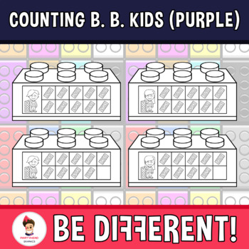 Counting Building Bricks Kids Clipart (Purple)