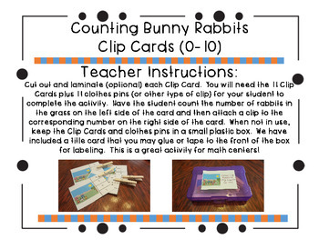 Counting Bunny Rabbits Clip Cards (0-10)