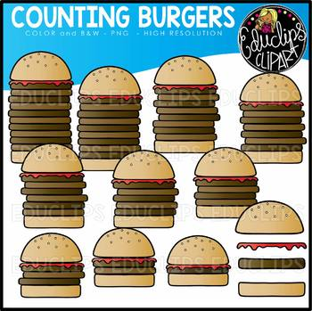 Counting Burgers Clip Art Set {Educlips Clipart}