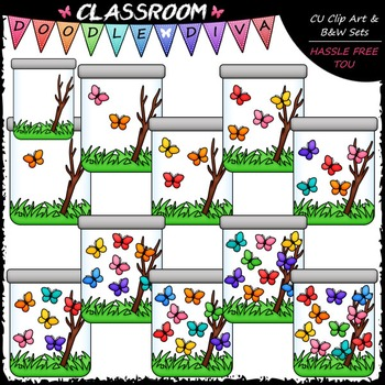 (0-10) Counting Butterflies Clip Art - Counting & Clip Art & B&W Set