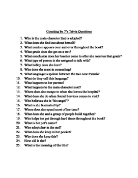 Counting By 7's Trivia Questions