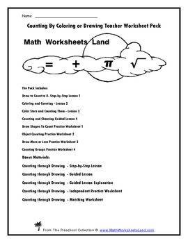 Counting By Coloring or Drawing Teacher Worksheet Pack
