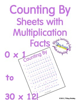 Counting By Sheets with Multiplication Facts