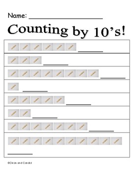 Counting By Tens Game and Recording Sheet