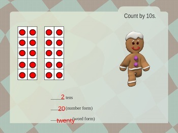 Counting By Tens PowerPoint (Gingerbread Man Theme)