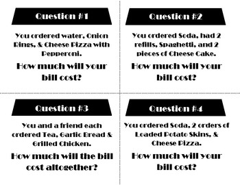 Counting Cafe Multi-Number / Multi-Step Addition and Subtraction Task Cards