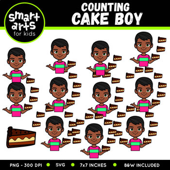 Counting Cake Boy Clip Art