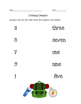Counting and Matching Numbers (with word form and standard form)