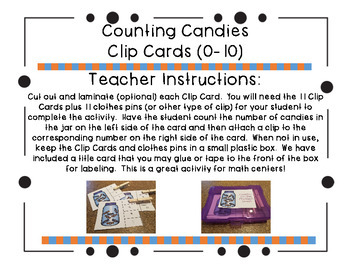Counting Candies Clip Cards (0-10)