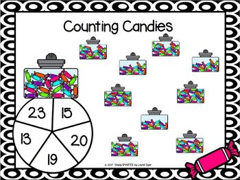 Counting Candies:  NO PREP Counting Spin and Cover Game (1-30)