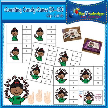 Counting Candy Canes Clip Cards (0-10)
