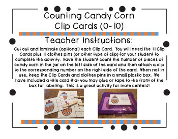 Counting Candy Corn Clip Cards (0-10)