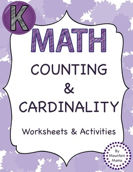 Counting & Cardinality Math Numbers Common Core Printables & Activities