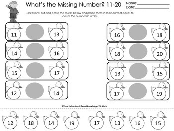 Counting & Cardinality {Numbers 11-20 Task Cards}