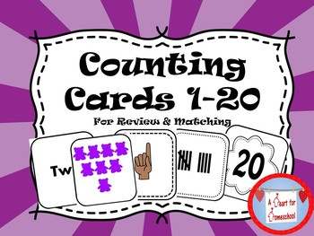 Counting Cards 1-20 for Review & Matching Activities