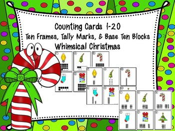 Counting Cards Ten Frames, Tally Marks & Base Ten Blocks Christmas