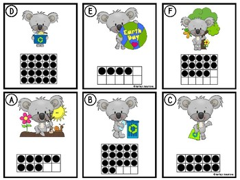 Counting Cards Ten Frames, Tally Marks & Base Ten Blocks Earth Day