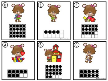 Counting Cards Ten Frames, Tally Marks & Base Ten Blocks Back To School