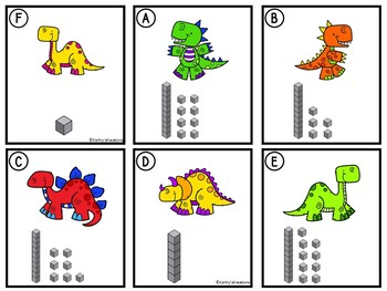 Counting Cards Ten Frames, Tally Marks & Base Ten Blocks Dinosaurs