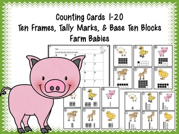 Counting Cards Ten Frames, Tally Marks & Base Ten Blocks Farm Babies