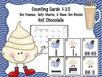 Counting Cards Ten Frames, Tally Marks & Base Ten Blocks Hot Chocolate