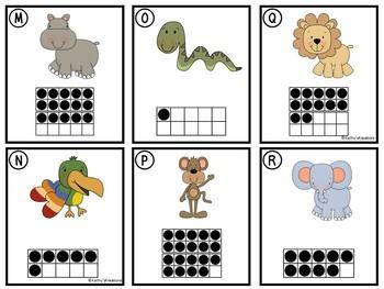 Counting Cards Ten Frames, Tally Marks & Base Ten Blocks Jungle Animals