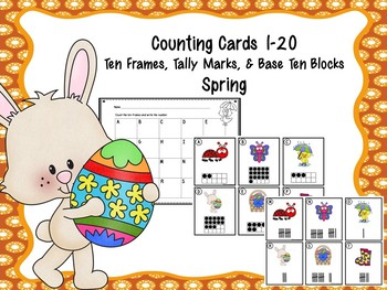 Counting Cards Ten Frames, Tally Marks & Base Ten Blocks Spring
