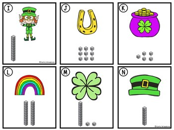 Counting Cards Ten Frames, Tally Marks & Base Ten Blocks St. Patrick's Day
